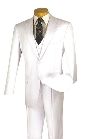 Mens White 3 Piece Suit Tonal Stripe Pleated Pants Vinci V2TT-8 - click to enlarge