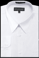 Mens All White Dress Shirt for Work Wrinkle Free DS3001