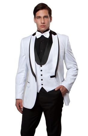 Mens White Black Slim Fit Tuxedo Prom Bryan Michaels MT239S-03