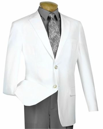 Mens White Blazer Painted Buttons Lucci Z-2PP