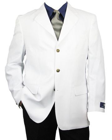 Mens White Brass 3 Button Blazer Vittorio Z73TA Size 44L Final Sale