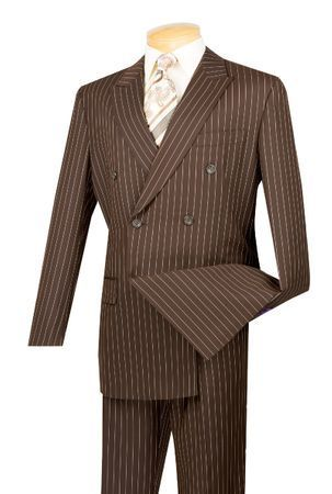 Mens Brown Stripe Double Breasted Suit DSS-4 Size 42S Final Sale