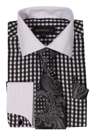 Mens White Collar Dress Shirt Black Plaid Matching Tie Set AH615