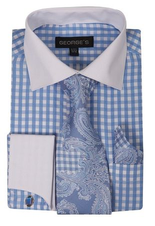 Mens White Collar Dress Shirt Blue Gingham Plaid Tie Set AH615
