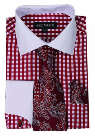 Mens White Collar Dress Shirt Red Gingham Checker Tie Set AH615