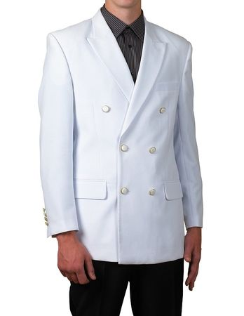 Mens White Double Breasted Suit Jacket  Classic Fit Blazer Lucci Z-DPP