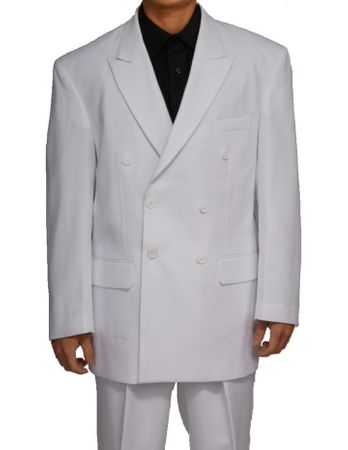 Mens White Double Breasted Suit Lucci DPP Size 40R Final Sale