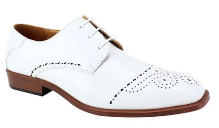 Mens White Italian Style Dress Shoes Perforated Toe Antonio Cerelli 6738