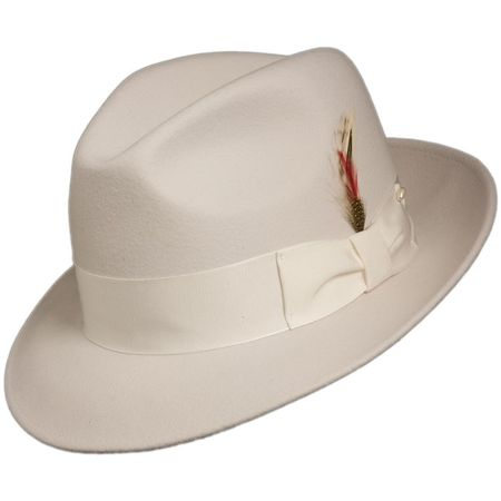 Mens White Fedora Hat 100% Wool Untouchable Dress Hat 8345 - click to enlarge