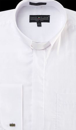 Mens White French Cuff Clergy Shirt by Daniel Ellissa DS3007R - click to enlarge