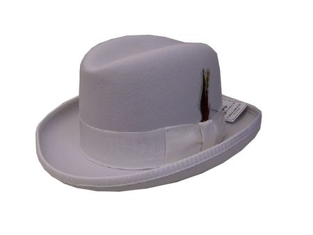 Mens White Godfather Hat 100% Wool Homburg Dress Hat 4201