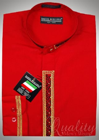 Mens White Red Chinese Collar Dress Shirt by Daniel Ellissa DS3113C Size 16.5 34/35