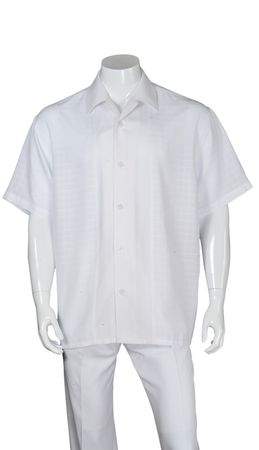 Mens White Leisure Suit Short Sleeve Checker Front 2960
