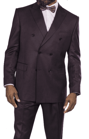 Steve Harvey Plum Double Breasted Suit 218855 Size 42 Long Final Sale - click to enlarge