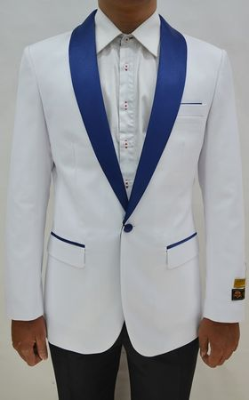 Mens White/Navy Collar Tuxedo Jacket Alberto Dinner-Jacket