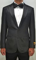 Mens Black/White Dot Pattern Blazer Dinner Jacket Alberto Paisley-100 #12