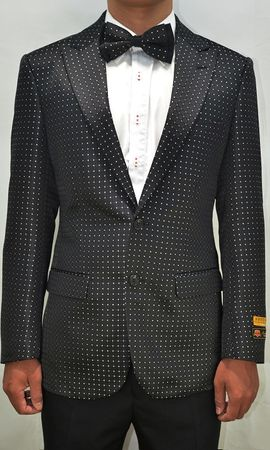 Mens Black/White Dot Pattern Modern Fit Blazer Dinner Jacket Alberto Paisley-100 #12
