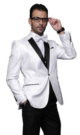 Mens White Paisley Fashion Tuxedo Modern Fit Statement Bellagio