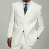 Mens White 3 Button Suit Super 150s Pleat Pants 3RS