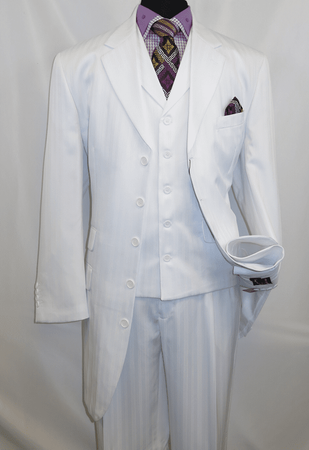 Mens All White Zoot Suit Fancy Shiny Stripe Three Piece Fortino 29198 - click to enlarge