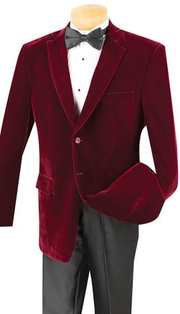 Velvet Blazer Mens Wine Burgundy Sport Coat Jacket 2 Button Vinci B-27