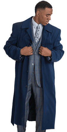 Mens Wool Cashmere Belted Topcoat Navy Blue Full Length Belt-Coat IS - click to enlarge