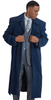 Mens Wool Cashmere Belted Topcoat Navy Blue Full Length Belt-Coat IS