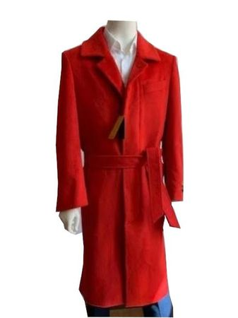 Mens Wool Cashmere Belted Overcoat Red Long Coat Full Length Belt-Coat IS size 48 chest
