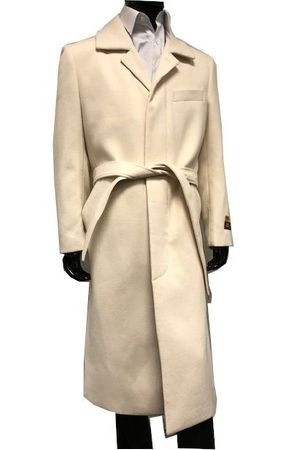 Mens Wool Cashmere Belted Topcoat Winter White Full Length Belt-Coat IS - click to enlarge