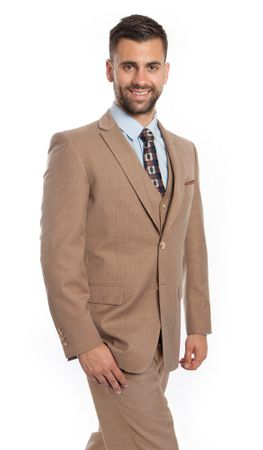 Men's Fine Wool Modern Fit Style Suit Beige Square 3 Piece ZG MW245-05 - click to enlarge