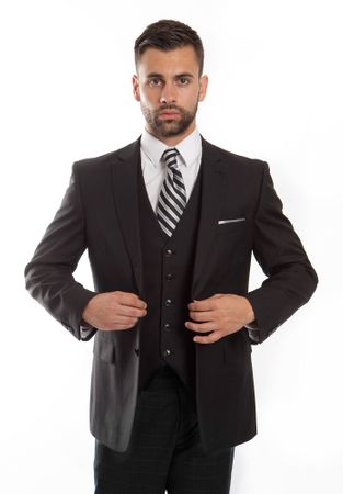 Men's Wool Modern Fit Suit Black Square 3 Piece ZG MW245-01