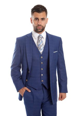 Men's Fine Wool Modern Fitted Suit Navy Box Pattern 3 Pc. ZG MW245-02 - click to enlarge