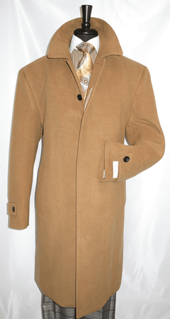 Mens Camel Overcoat Wool Covered Buttons Regular Fit COAT61 - click to enlarge