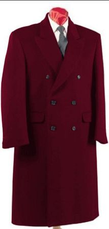 Men's Burgundy Double Breasted Wool Blend Overcoat Alberto DB-COAT - click to enlarge