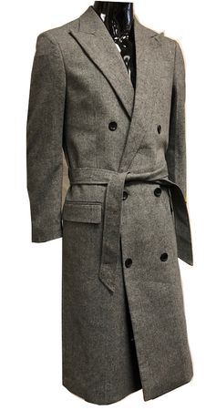 Men's Herringbone Double Breasted Wool Overcoat Alberto DB-COAT - click to enlarge