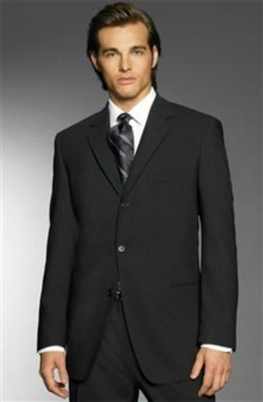 Men's Super 150s Wool Suits Black 3 Button Style Classic Fit Alberto 3BVP-1 2pc - click to enlarge