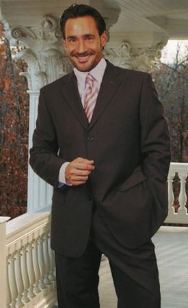 Men's Classy Italian Wool Suit Charcoal 3 Button Classic Cut Alberto 3BVP-1 2pc - click to enlarge