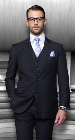 Men's Wool Suits Navy Blue 2 Button by Alberto 2BVP-1 - click to enlarge