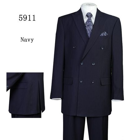Mens Navy Stripe Double Breasted Suit Regular Fit 5911 Size 40R Final Sale