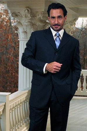 Men's Wool Suits Navy Blue 3 Button Classic Fit Alberto 3BVP-1 2pc - click to enlarge