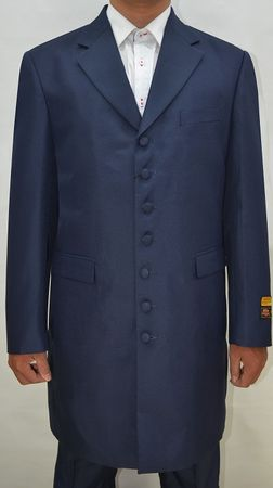 Mens Zoot Suits 3 Piece Navy Long Jacket by Alberto Zoot-100