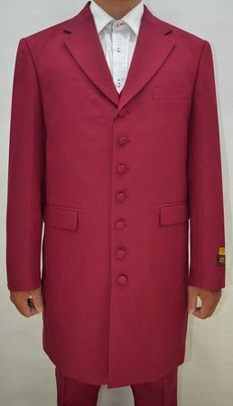 Mens Zoot Suits Burgundy 3 Piece Long Jacket by Alberto Zoot-100