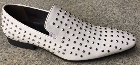 Mens Zota White Leather With Silver Studs Smoking Slip On Loafer G6628-22A