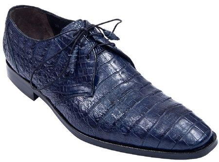 Los Altos Mens Navy Blue Crocodile Shoes Plain Toe ZV088210 Size 8 Final Sale