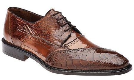 Belvedere Nino Camel Ostrich Eel Oxford Shoes Size 9 Final Sale