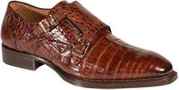 Mezlan Crocodile Shoes Sport Brown Double Monk Strap Prague