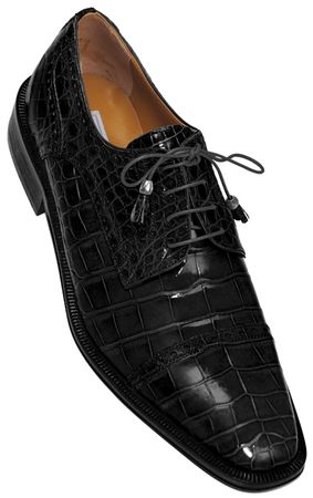 Alligator Shoes Ferrini Mens Black Cap Toe Style 216 - click to enlarge