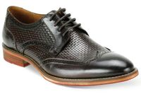 Giovanni Mens Chocolate Brown Basket Weave WingTip Dress Shoes Carlton