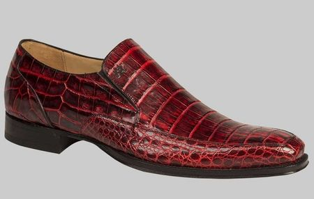 Mezlan Loafers Mens Red Black Finish Crocodile Slip On Conner - click to enlarge