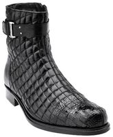 Belvedere Libero Mens Black Alligator Trim Quilt Boots 819